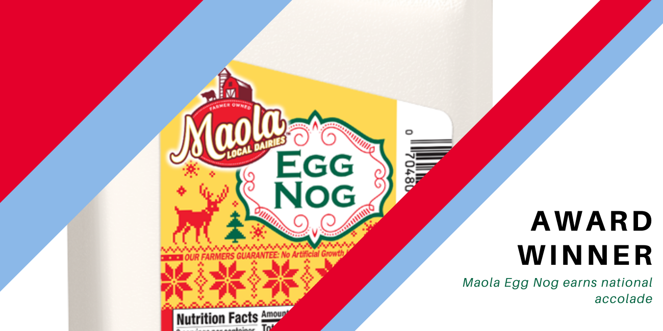 "Photo of Maola Egg nog with words ""Award Winner"""