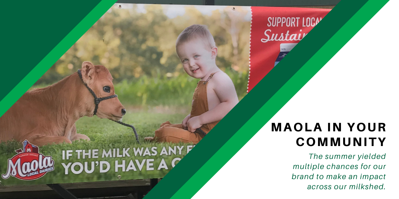 Maola in your community. image of sign displaying baby and cow
